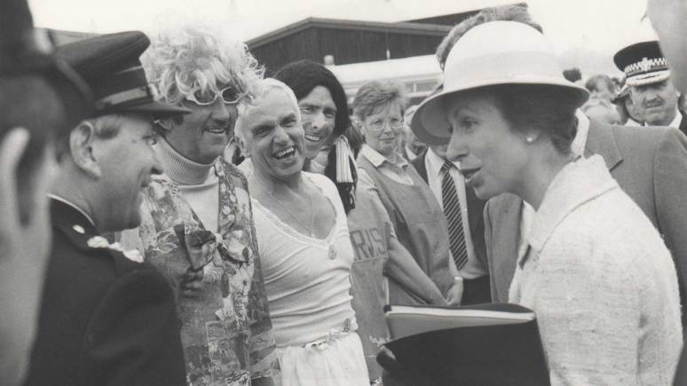 HRH Princess Anne speaking to (L-R) Bob Walker, Dennis Clayton, Norman Warner and Derek Day during a Fire Prevention Display at the Lincolnshire Show in 1985.