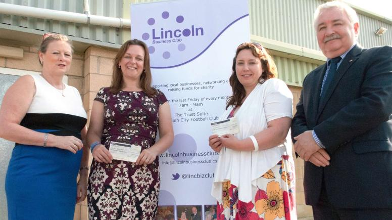 LBC Chair Julie Taylor, Rachel Hewitt from Jon Egging Trust, Lisa Foster from Scope  and honorary lifetime member Eddie Strengiel.
