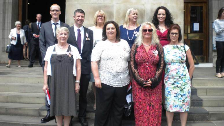 The OSJCT group. Back row (L-R): Mark Griffiths, Jeff Denton, Annette Ayles, Theresa Whitford, Sharon Wheeler Front row (L-R): Christine Pearce, Karen Cummings, Sian Sparrow, Emma Pickett.