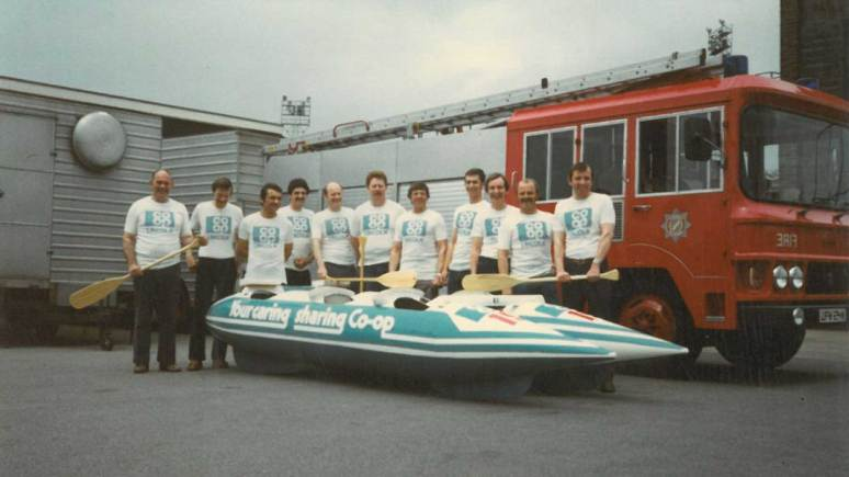 Lincoln Fire Station raft race team of 1983.
