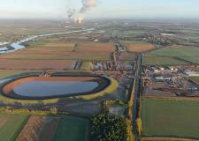 Aerial view of the new reservoir for Lincoln in Newton on Trent and the treatment and pumping stations.