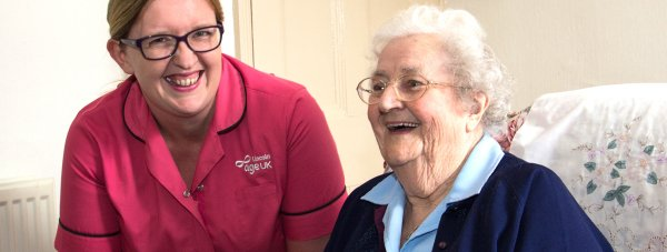 Emma Wells, a Lincoln Age UK charity worker who helps Bridy Betts live independently at home.