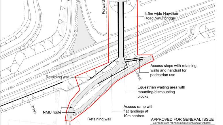 The revised design for the Hawthorn Road bridge over the Lincoln Eastern Bypass. Image: LCC