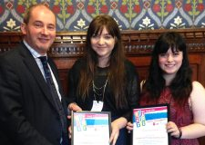 Communities Minister Stephen Williams MP with Sophie and Eleni.