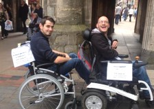 "Matt is hoping to find a new carer by using what he calls a ""wheelchair train"" advertising strategy."