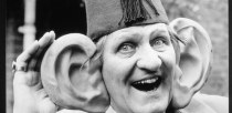 """Tommy Cooper and his """" new ears"""". Photo: Mike Maloney."""