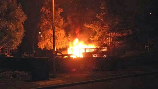 Wheelie bins on fire on Epsom Close in Lincoln on September 19. Photo: Nigel Smith
