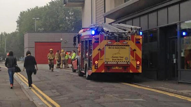Lincolnshire Fire and Rescue attending the fire at Witham Wharf in Lincoln.