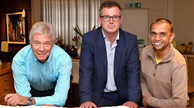 (L-R) Palmers of Trent Bridge Managing Director Jim Mersh, Banks Long & Co Director James Butcher and Dinesh Shah of Shah Furniture & Interiors.