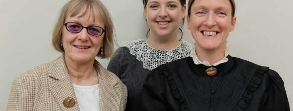 L-R: Caroline Davies, playing Older Edie; Harriet Mawson playing younger Edie Beechey; and Juli Charlton playing Amy Beechey.