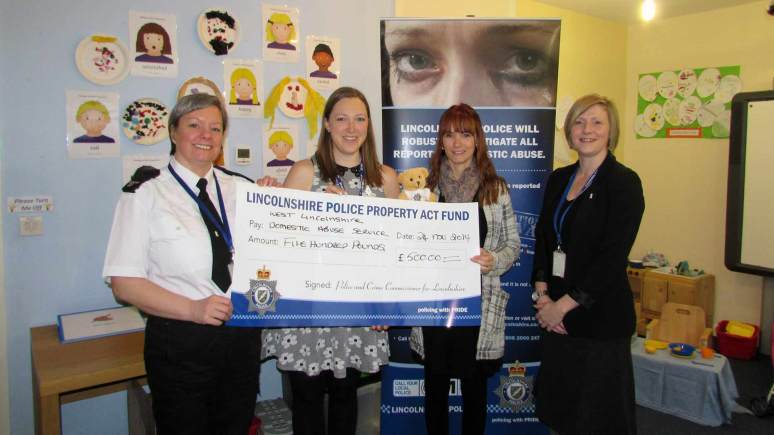 L-R: Gill Finn, Community Safety Officer, Lincolnshire Police, Lucy King, Senior Project Worker, WLDAS, Vicky Morris, Child and Family Support Worker, WLDAS, Sarah Norburn, DA Coordinator, Lincolnshire Police