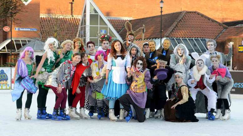 The cast of Alice's Advenures in Winter Wonderland took to the Lincoln Ice Rink for a taste of the show's best bits. Photo: Stuart Wilde