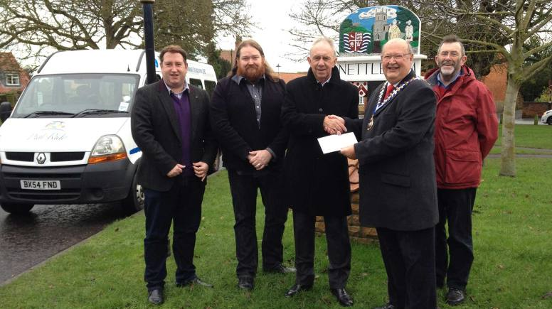 L-R – West Lindsey District Councillor Giles McNeill (Nettleham Ward), Mr. Rik Gifford, General Manager Lincoln Area Dial-a-Ride, Mr. Brian West, Chairman Lincoln Area Dial-A-Ride, Mr. Patrick McNeill, President, Nettleham & District Probus Club and Mr. Ralph Sherwin, Secretary, Nettleham & District Probus Club.