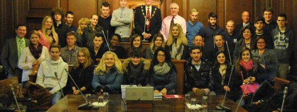 Students from Germany, the Netherlands and Italy met the Mayor of Lincoln Councillor Brent Charlesworth during an exchange visit with Lincoln College.