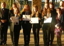 L –R : Steve Harris (EP), Jane Hopkinson (headteacher), Chloe Addlesee, Leah Ward, Lucy Gallop, Beth Julian, Hayley Harrison (EP), Laura Edlington (EP) and Dave Hackett.