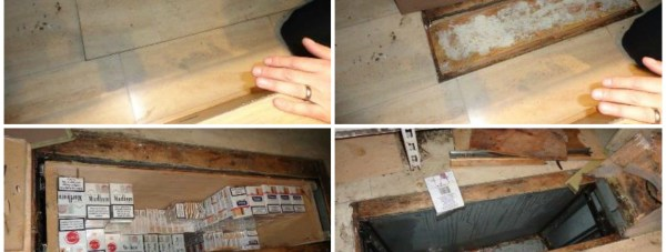 The hiding place for illegal cigarettes that police discovered during a raid on European Foods on High Street Lincoln were raided on November 6, 2014.