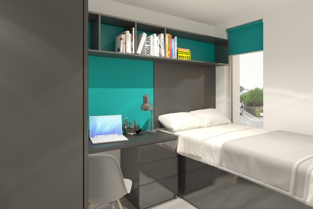 A student bedroom example as part of the Water House designs.