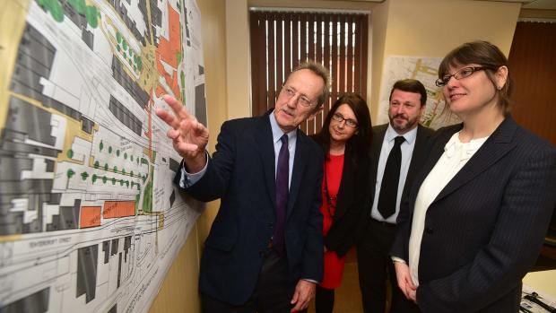 Leader of the City of Lincoln Council Ric Metcalfe, Angela Andrews, acting chief executive sponsoring the project from the corporate management team, Councillor Neil Murray, the city council's Portfolio Holder for Planning Policy and Economic Regeneration and Assistant Director for Planning and Regeneration Kate Ellis. Photo: Steve Smailes for The Lincolnite