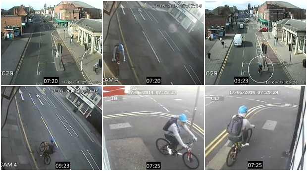 Still images showing Tsang on the cycle, coming into Lincoln and then leaving after the murder. Photos: Lincolnshire Police