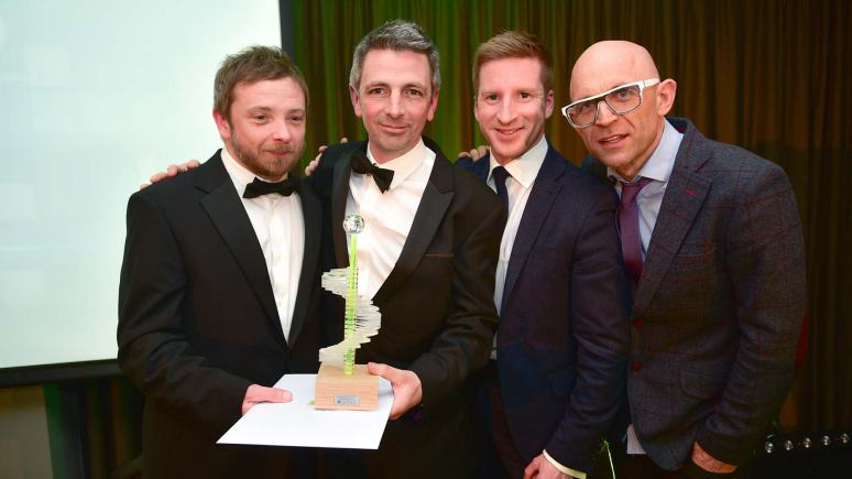 The winners of the Best Use of Mobile Technology award Bluecube Telecommunications.  Photo: Steve Smailes for Lincolnshire Business