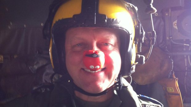 Rick Jones getting into this spirit of the day on the local RAF Search and Rescue helicopter
