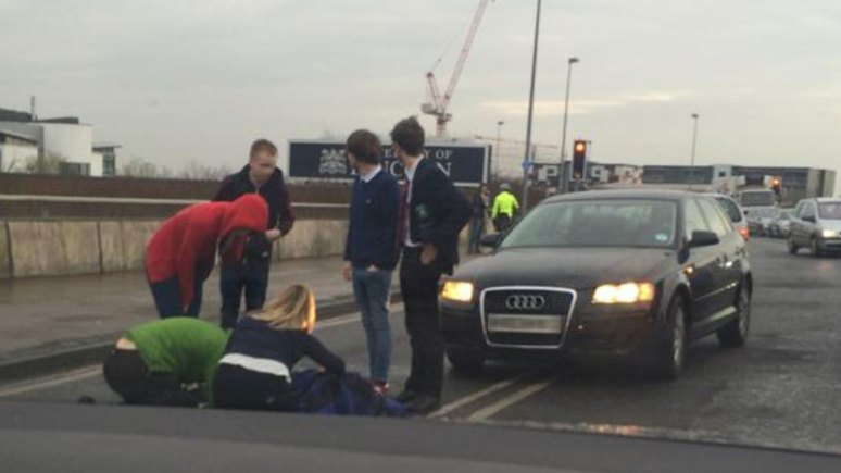 The woman was hit by a car at around 4.20pm on the university bridge.