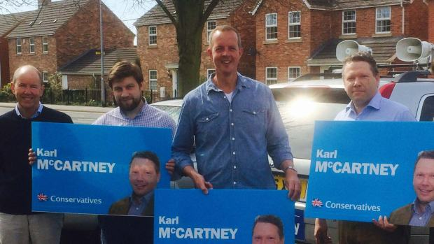 Nick Boles campaigning with Karl McCartney and Conservative activists