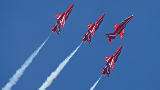 Jets of the 2015 Royal Air Force Aerobatic Team, the Red Arrows, showing their new Union flag tailfin. MoD/Crown Copyright 2015