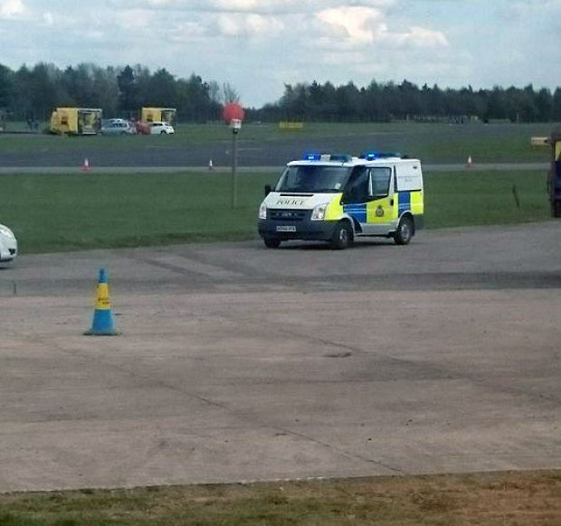 Workers are being evacuated from the runway at RAF Waddington after a second unexploded device has been found.