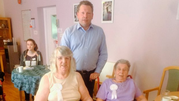 Karl McCartney with residents at Ermine House