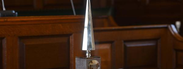 The highly-coveted Lincoln Civic Award is made in silver and was crafted in the style of an eight-sided obelisk by the late Lincoln silversmith Derek Birch.  Photo: Steve Smailes for The Lincolnite
