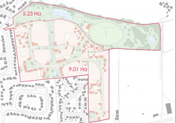 An outline of the plans for the 200-home development in Nettleham.