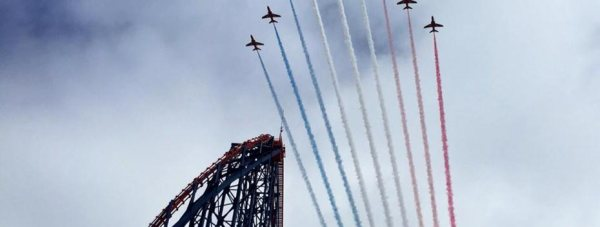 Lincolnshire-based Red Arrows perform a display for the opening of Skyforce ride at Blackpool Pleasure Beach.