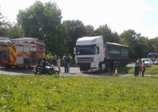 The collision involved a car and a lorry and took place at around 3.25pm.