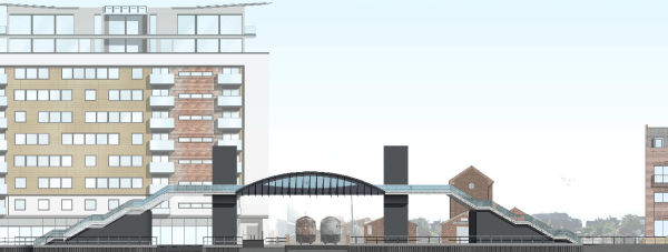 Revised plans for the Brayford level crossing footbridge.  Artist's impression: Stem Architects