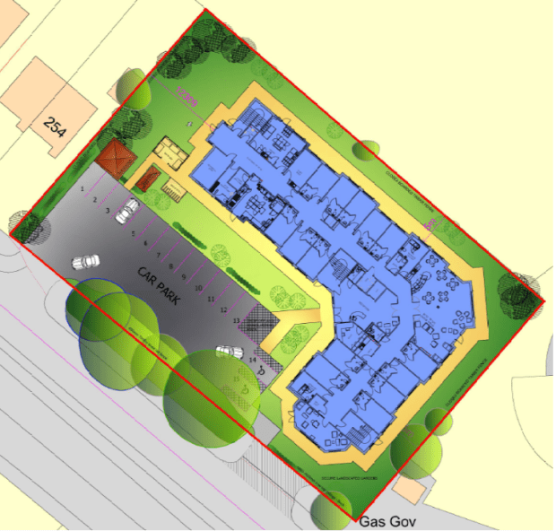 The proposed sit layout plan for the new care home.