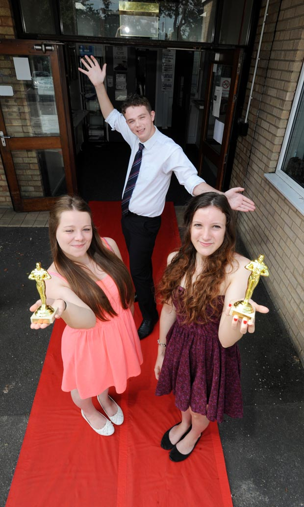 NCS volunteers Beth Beresford (17), Dave Glover (18) and Amy North (18). Photo: Stuart Wilde