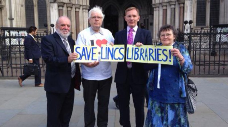 Save Lincolnshire Libraries campaigners outside High Court in London.