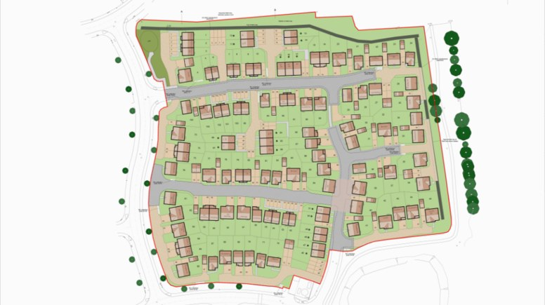 New homes planned for Witham St Hughes. Artists' Impression: NKW Deson for Persimmon