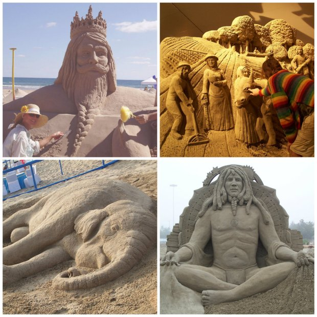 Examples of work by the artistic duo, who go by Sand Artist.