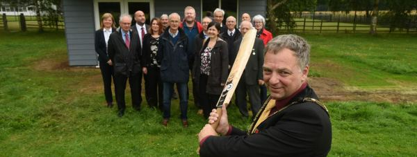 Mayor of Lincoln Andrew Kerry opening the new cricket pavilion on West Common. Photo: Steve Smailes for The Lincolnite