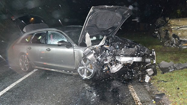 The crash in December 2013 left two teenage girls with life changing injuries. Pictures is Adam's Audi. Photo: Lincolnshire Police