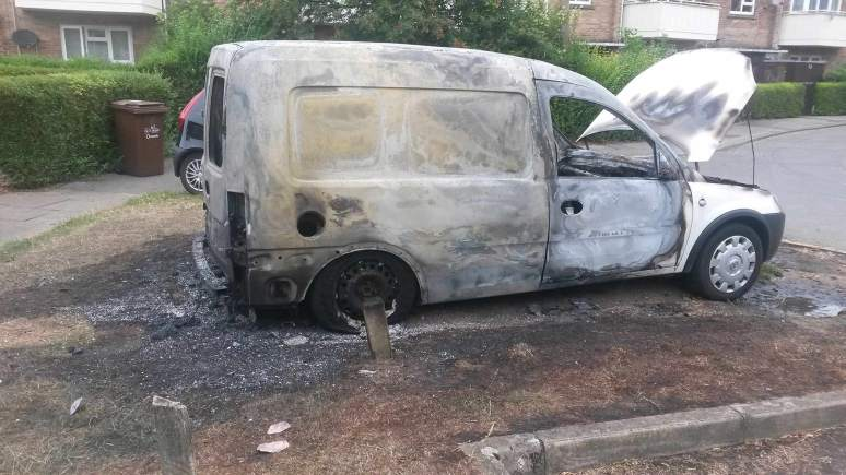 A van was set on fire on Retief Close at 2am on July 24
