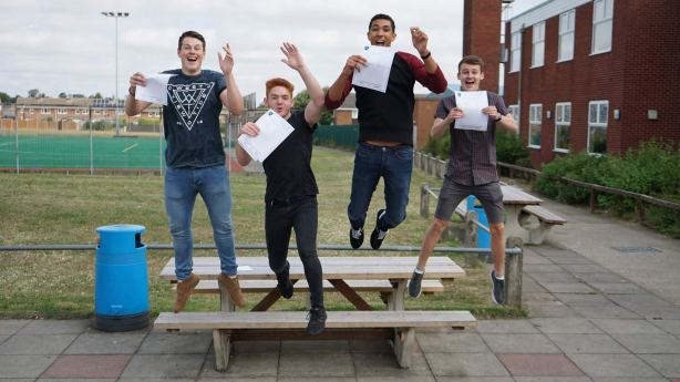 Lincoln Castle Academy students jumping for joy at their A-Level results