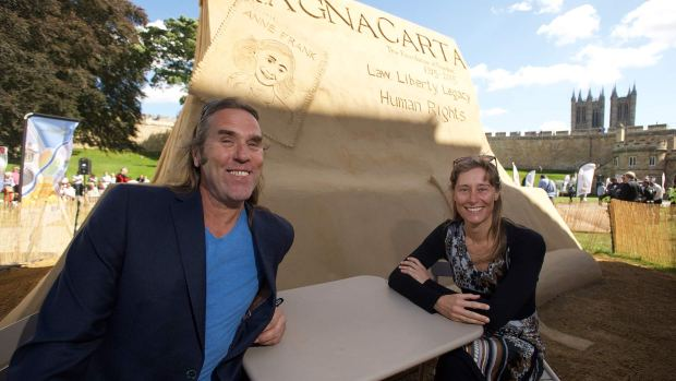 Remy and Paul Hoggard, the creators of the giant sand sculpture. Photo: Steve Smailes for The Lincolnite