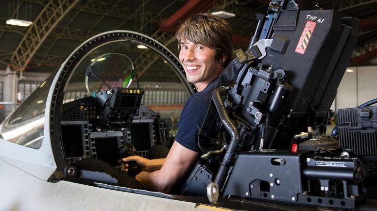 Professor Brian Cox in a RAF Coningsby Typhoon.