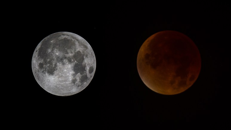 The moon and blood moon over North Scarle. The left image was taken at 1am and the right image was taken at 4am once the shadow had occurred. Photo: Keith Campbell