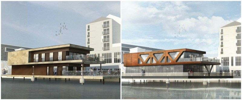 Initial designs (L) vs the new designs for the Brayford's second floating restaurant.  Artist impression: Stem Architects
