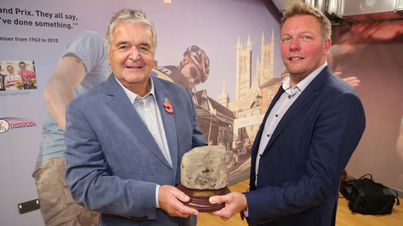 Ian was presented with his very own cobble by new organiser Dan Ellmore. Photo: Phil Crow