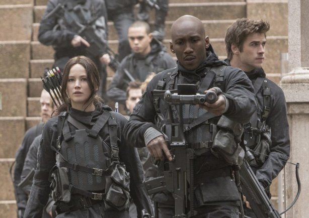 Mahershala Ali, Jennifer Lawrence and Liam Hemsworth in The Hunger Games: Mockingjay Part 2. Photo by Lionsgate.